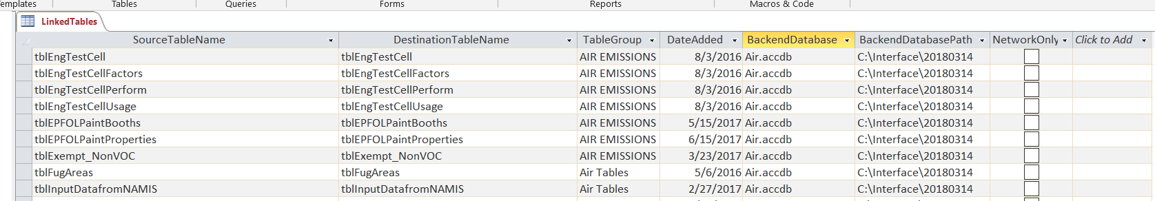 How To Have Access VBA Link Tables Programmatically