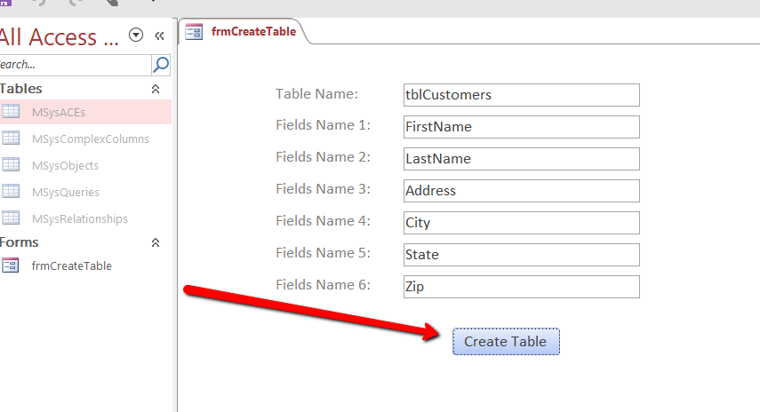 Access VBA Create Table (Simplified)